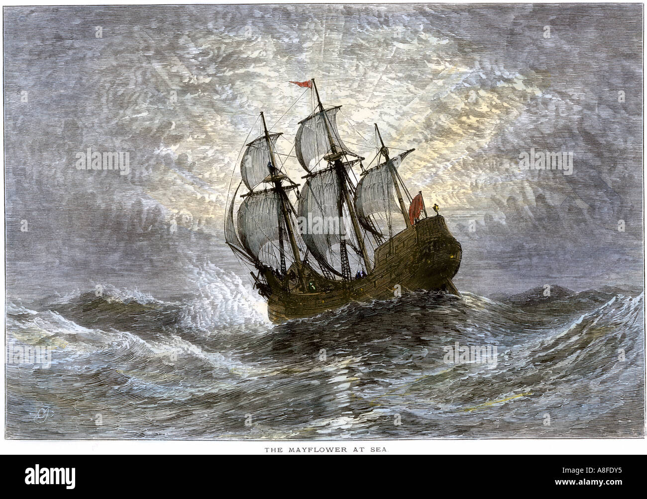 Die Mayflower auf See 1620. Hand - farbige Holzschnitt Stockbild