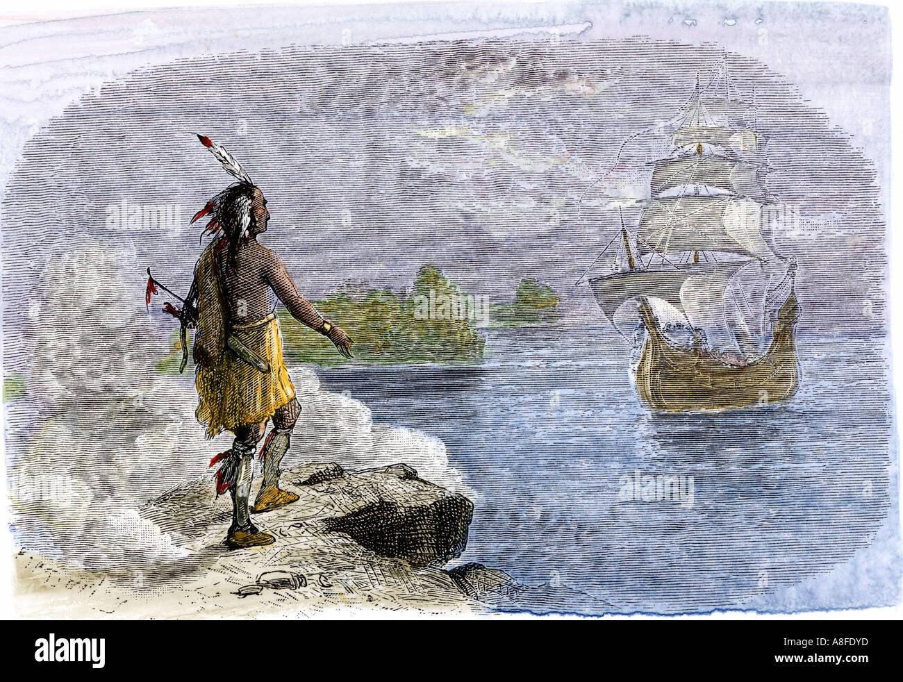 Native American Gruß der Mayflower in 1620. Hand - farbige Holzschnitt Stockbild