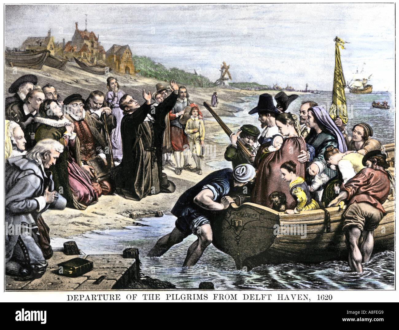 Pilger verlassen Delfshaven Niederlande für die Mayflower Reise 1620. Handcolorierte halftone einer Abbildung Stockbild