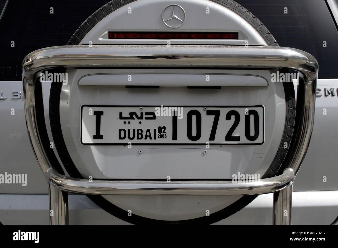 Dubai Mercedes Benz off Road-Kfz-Kennzeichen. Foto: Willy Matheisl ...