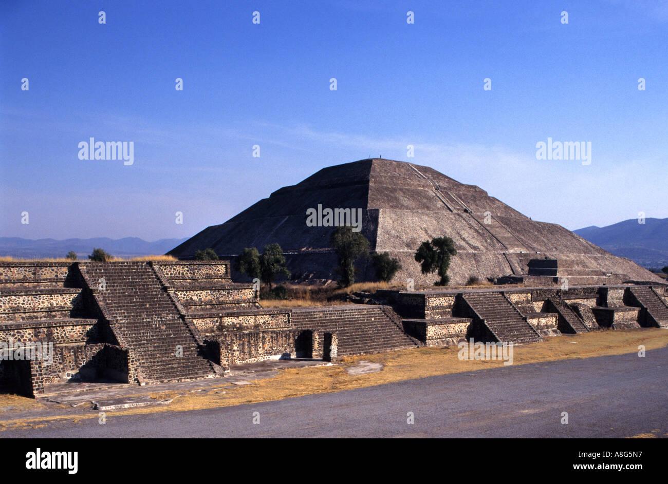 Mexiko Theotiuacan Allee der Toten Pyramide der Sonne Mond aztekischen Chachapoya-Stadt der Götter Stockfoto