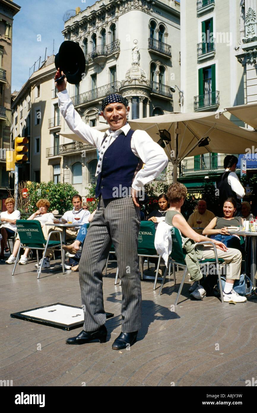 Straßenkünstler Ramblas Barcelona Katalonien Spanien Stockbild