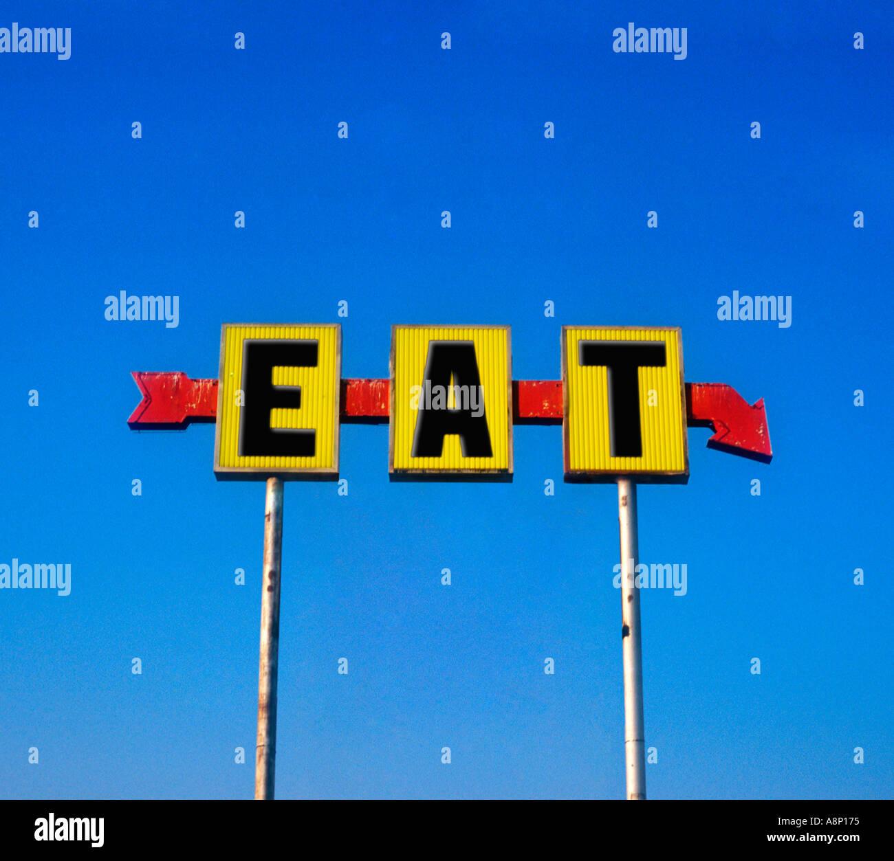 Essen Sie Zeichen für ein Restaurant an der alten Route 66 in Oklahoma Claremore Stockbild