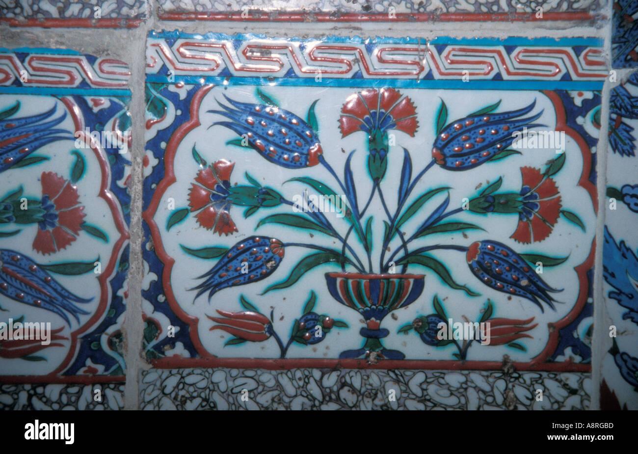 Fliesen an den Wänden des Topkapi-Palastes Istanbul Stockbild