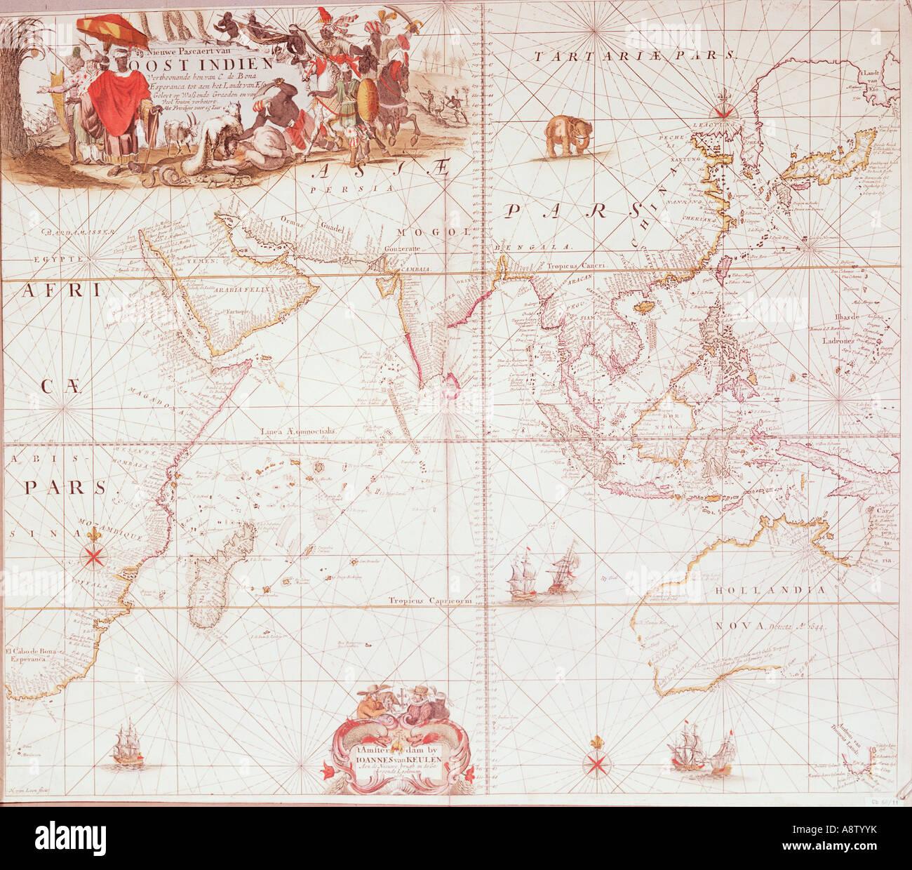 Historische Karte der neuen Welt. Ostindien. Stockbild