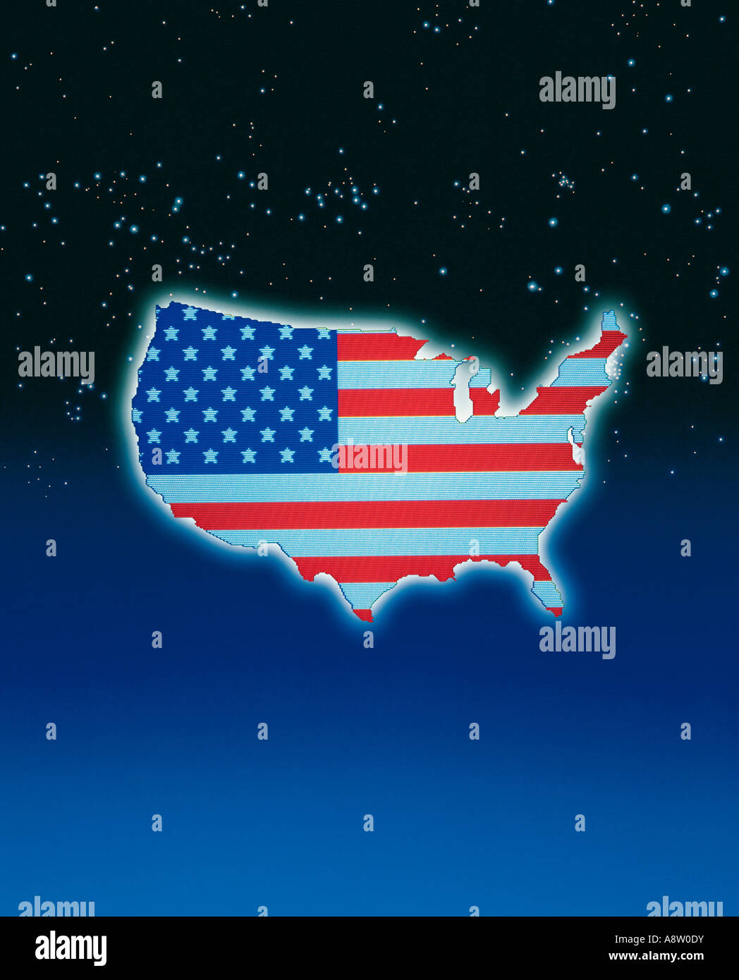 Concept Artwork. Karte der Vereinigten Staaten von Amerika mit dem Sternenbanner Flagge gegen Sternenhimmel Hintergrund. Stockbild