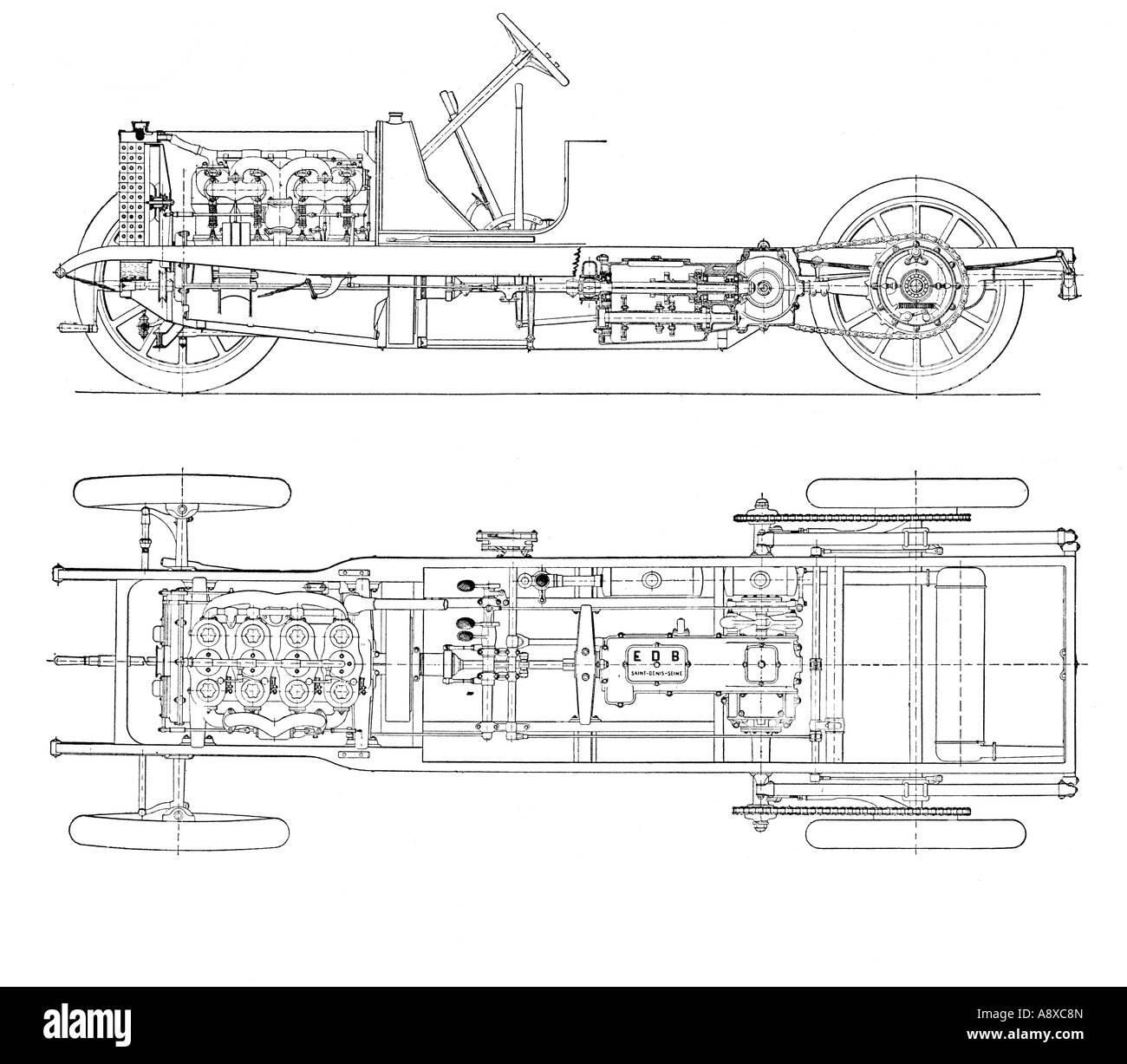 DIAGRAMM DER VIER ZYLINDER BENZIN MOTOR AUTO-CHASSIS MIT ...