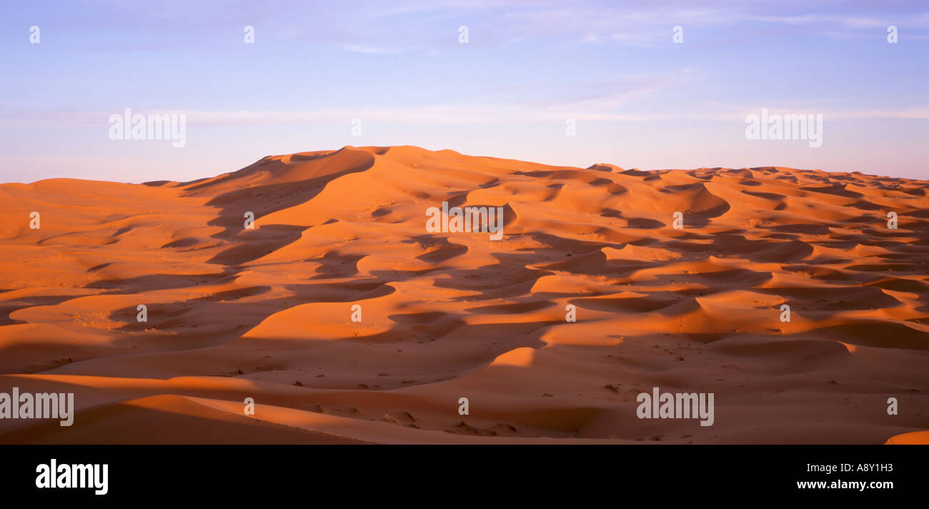 Sanddünen der Wüste Sahara, Erg Chebbi, Marokko Stockfoto