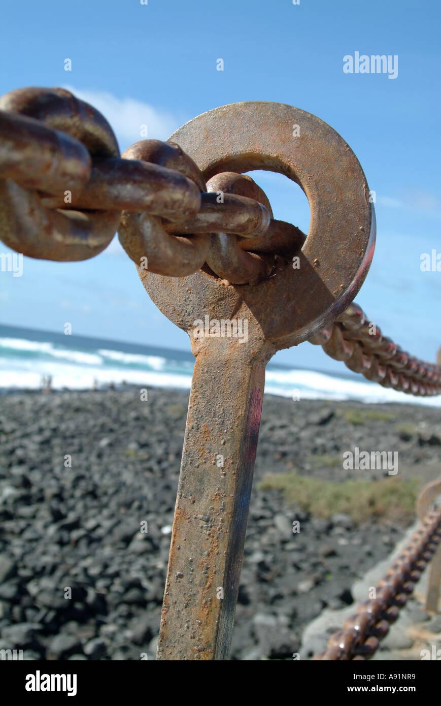 Anker Kette Ankerkette Kanarische Inseln Kanaren Stockbild