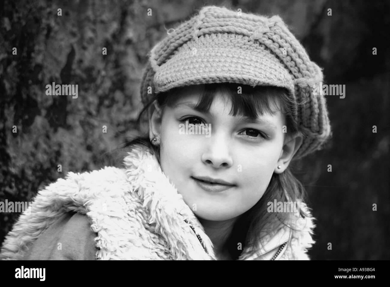 Horizontale Schwarz Weiß Porträt Von Hübschen Jungen Mädchen In