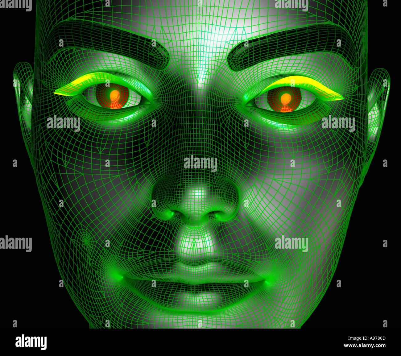 computergenerierte Roboter Gesicht mit Draht Rahmen Textur Stockfoto ...
