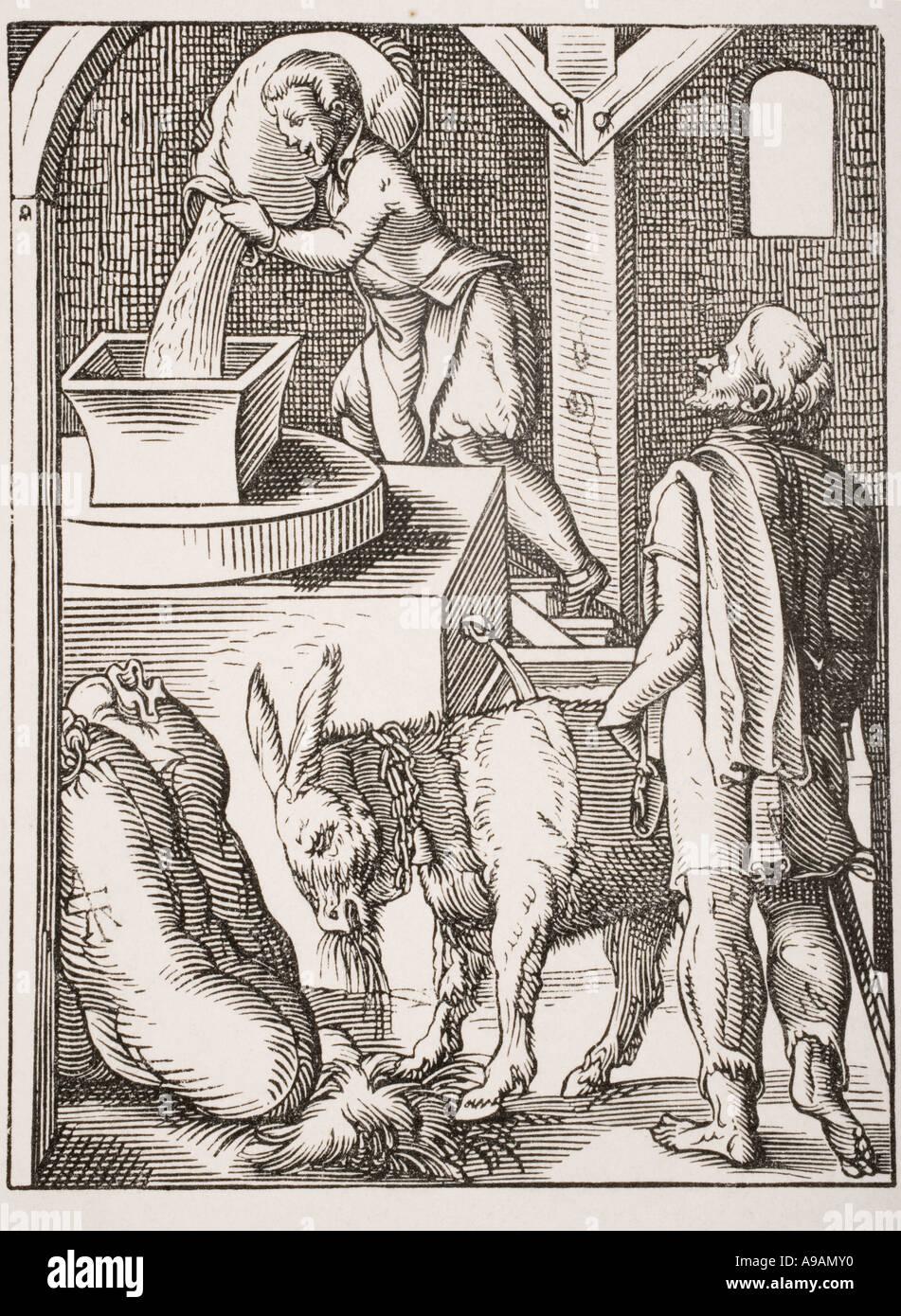 Der Müller. 19. jahrhundert Reproduktion von einem 16. Jahrhundert Kupferstich von Jost Amman Stockfoto