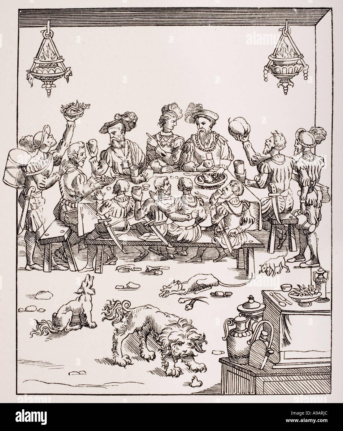 Die Ausgabe de Table. 16. Jahrhundert-Bankett Stockbild