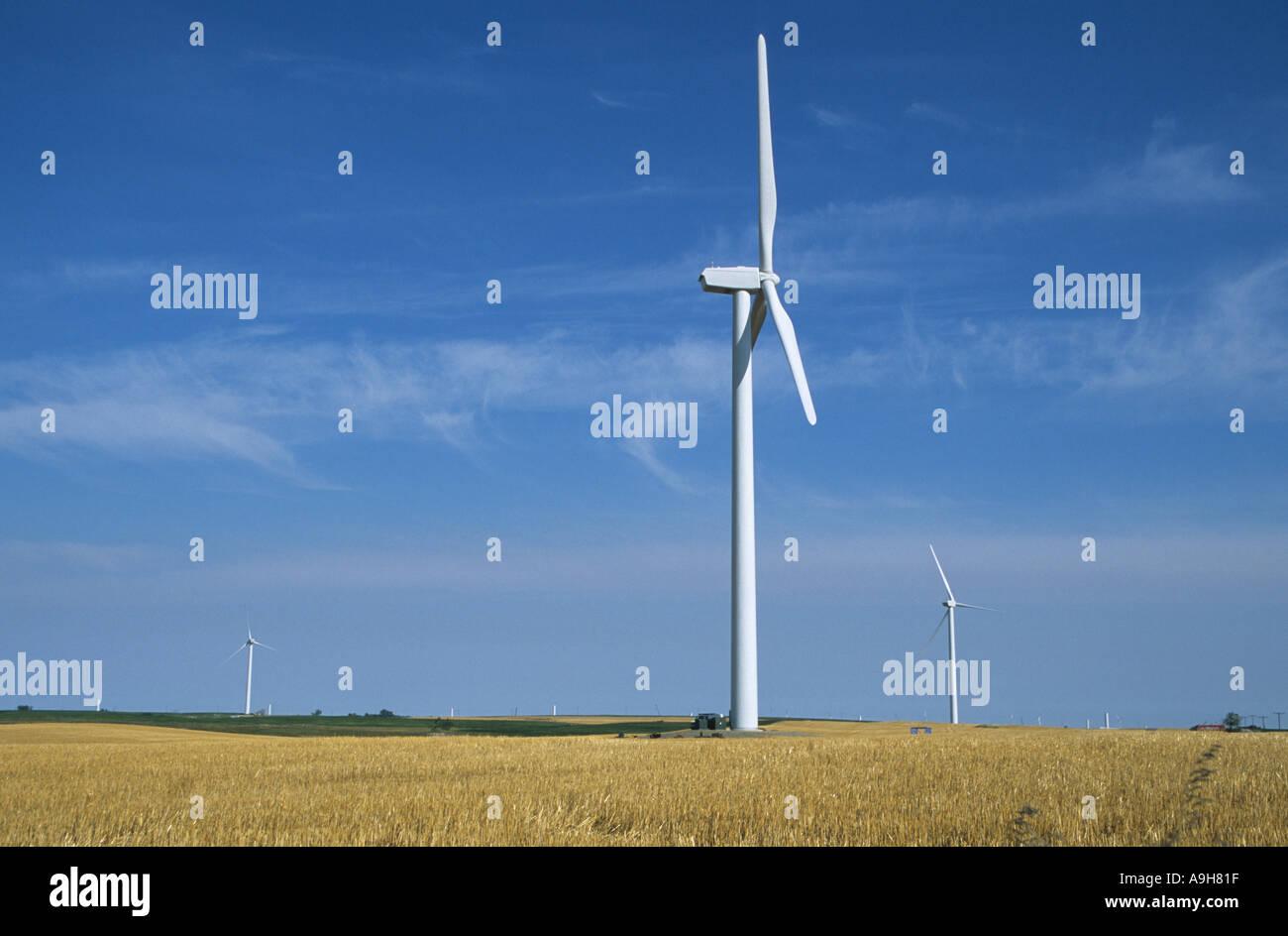 Macht Wind Wind-Energie-Bauernhof in North Dakota U S A gebaut insgesamt 40 Windmühlen gebaut Stockbild