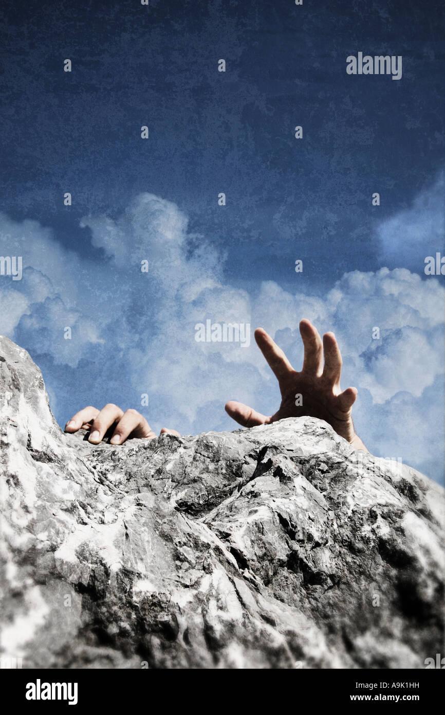 ein Mann Klettern Stockbild