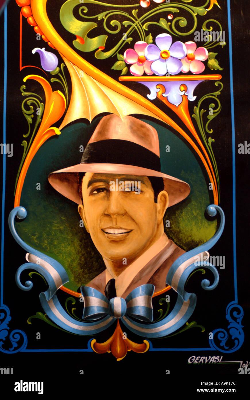 Argentinien Buenos Aires Carlos Gardel auf einen Tango-Shop Paseo del Tango in Abasto gemalt Stockbild