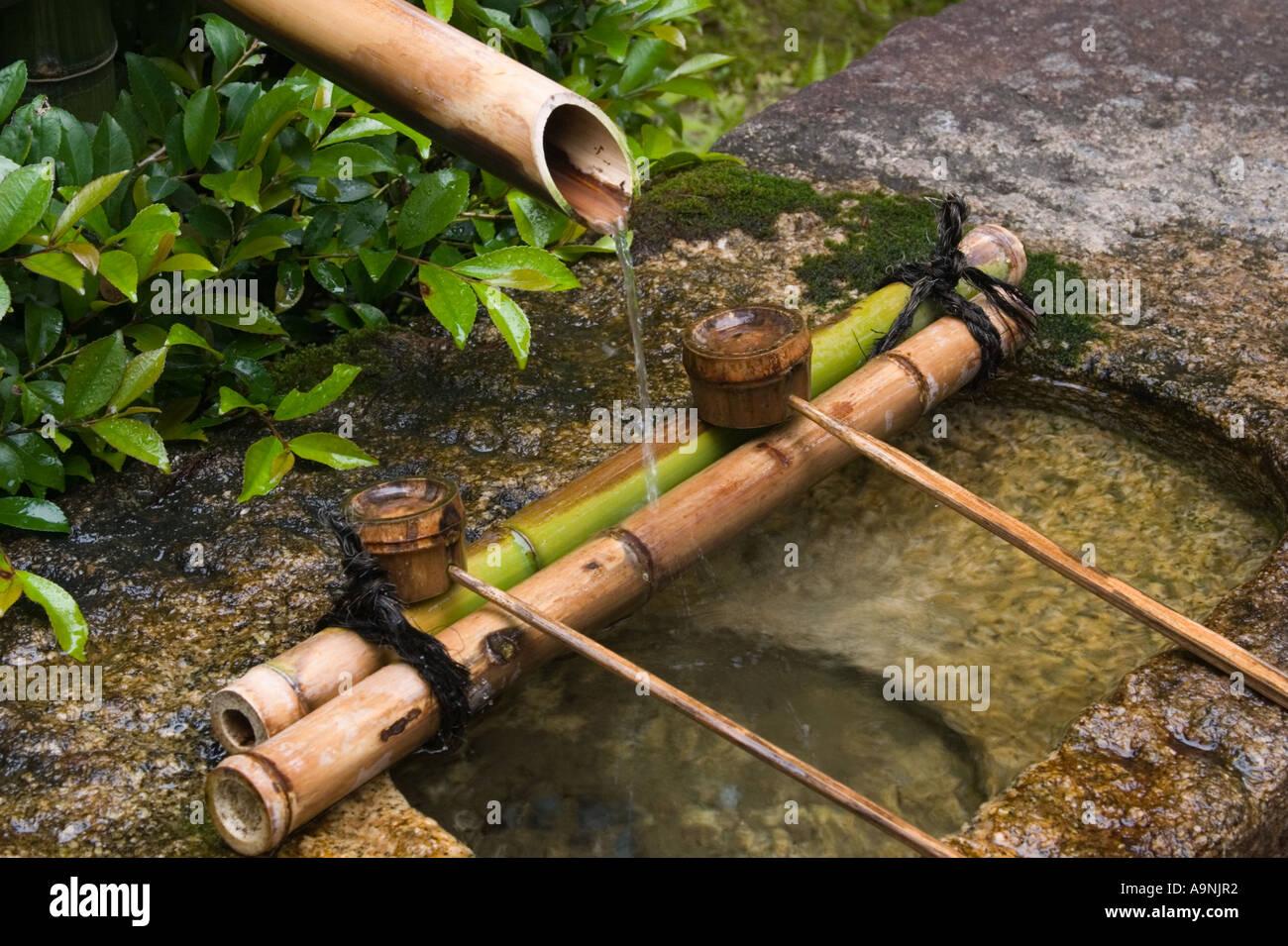 Stein Und Bambus Reinigung Brunnen Tsukubai Ryoanji Tempel Kyoto