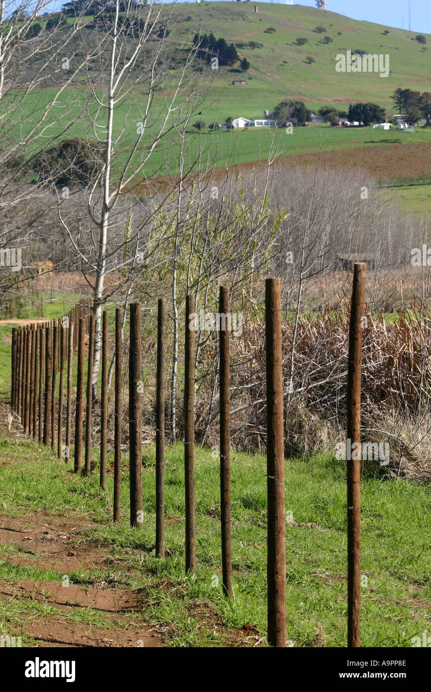 Wire Fence Wooden Pillars In Stockfotos & Wire Fence Wooden ...