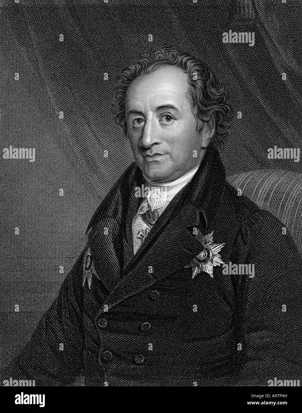 JOHANN WOLFGANG VON GOETHE (1749-1832, deutscher Schriftsteller und Wissenschaftler Stockbild