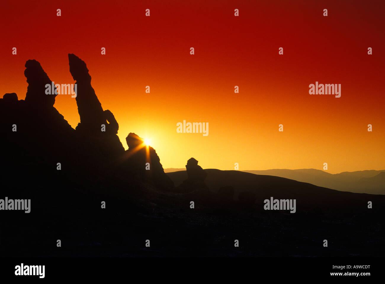 3 MARIAS ROCK FORMATION VALLE DE LA LUNA ATACAMA-WÜSTE SAN PEDRO DE ATACAMA II REGION IN CHILE Stockbild