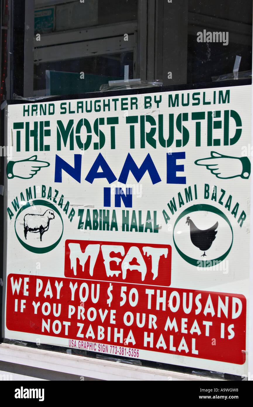 STREET SCENE Chicago Illinois Zeichen für Zabiha Halal-Fleisch in ...