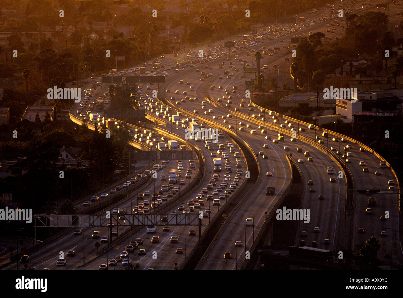 AERIAL ROAD TRAFFIC CONGESTION SANTA MONICA FREEWAY LOS ANGELES KALIFORNIEN USA Stockbild
