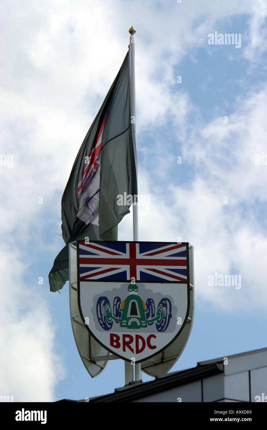 BRDC Motorsport Logo Union Jack Fahnenmast, am Rennen in Silverstone, Northamptonshire, England Stockbild