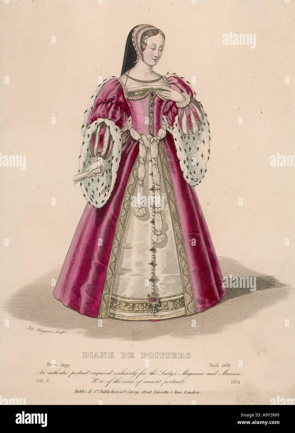 Hofdame ca. 1525 Stockbild