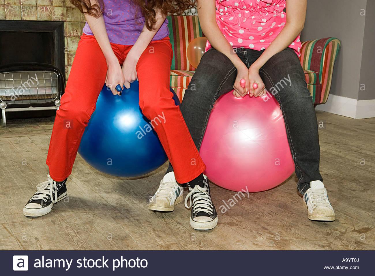 Mädchen auf Hoppity Pferde Stockbild