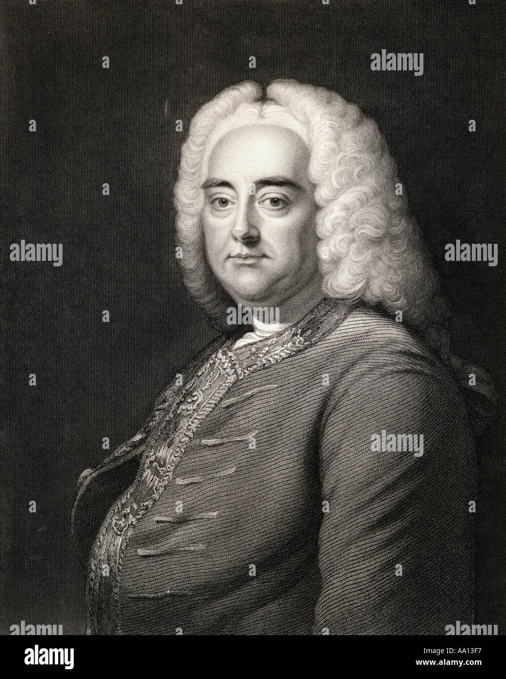 Georg Friedrich Händel (oder Friedrich), 1685 - 1759. Deutsche geboren englischen Komponisten des späten Barock Stockbild