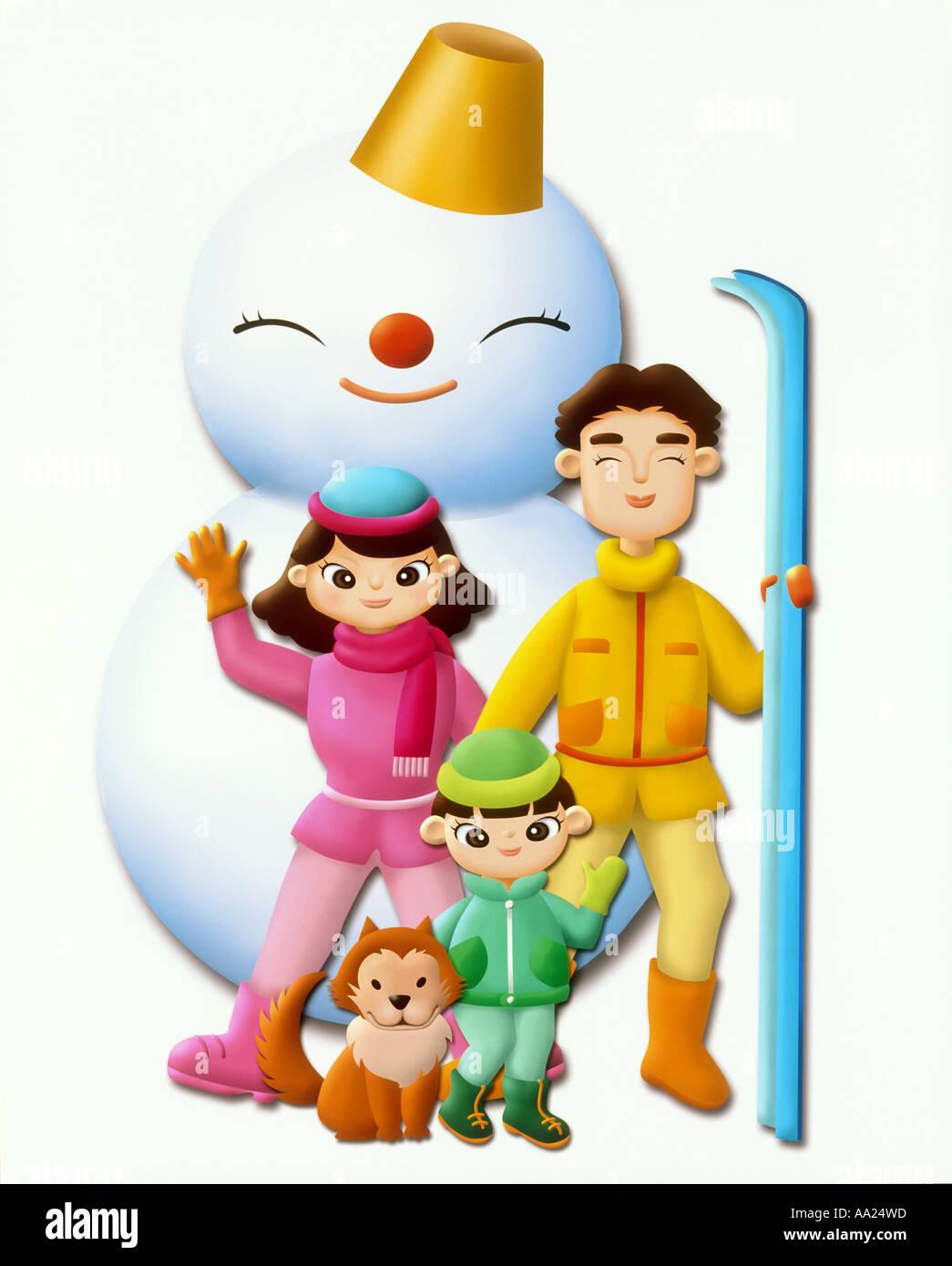 Abbildung Familie im winter Stockfoto