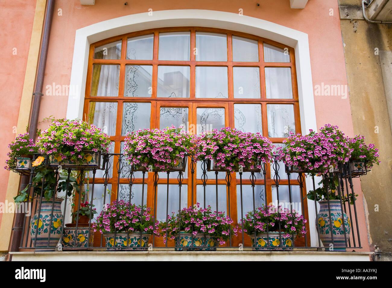 Blumen Für Die Wohnung blumen auf typische wohnung balkon taormina sizilien italien