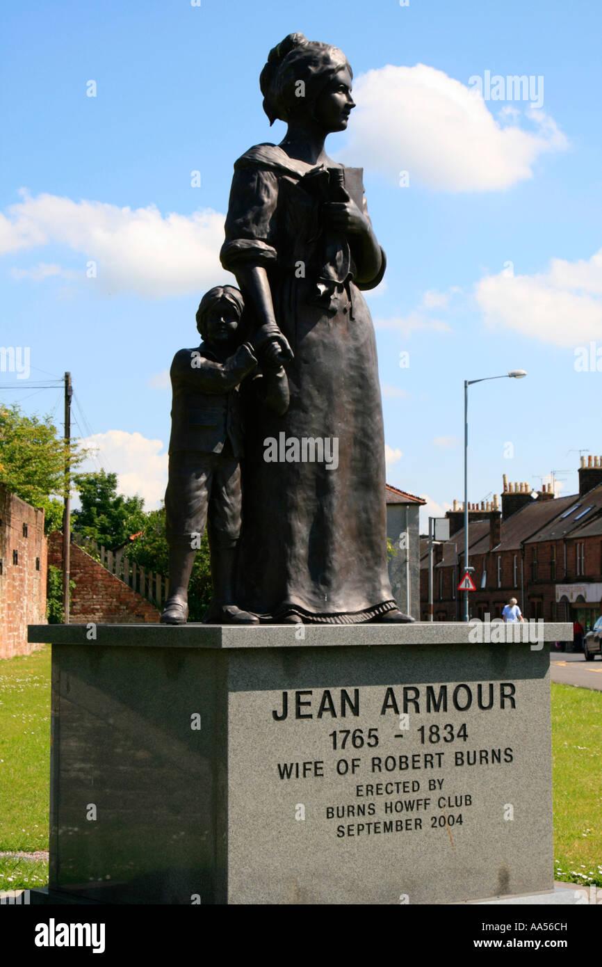 Jean Armour Statue Dumfries Ehefrau von Robert burns Schottland uk gb Stockbild