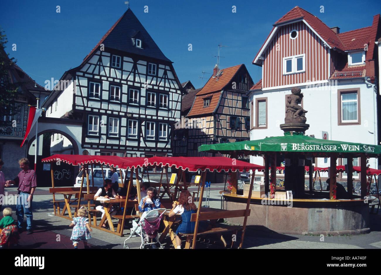 Deutschland-Hessen-Hessen-Bergstrasse Stadt Bensheim Rahmen Häuser ...
