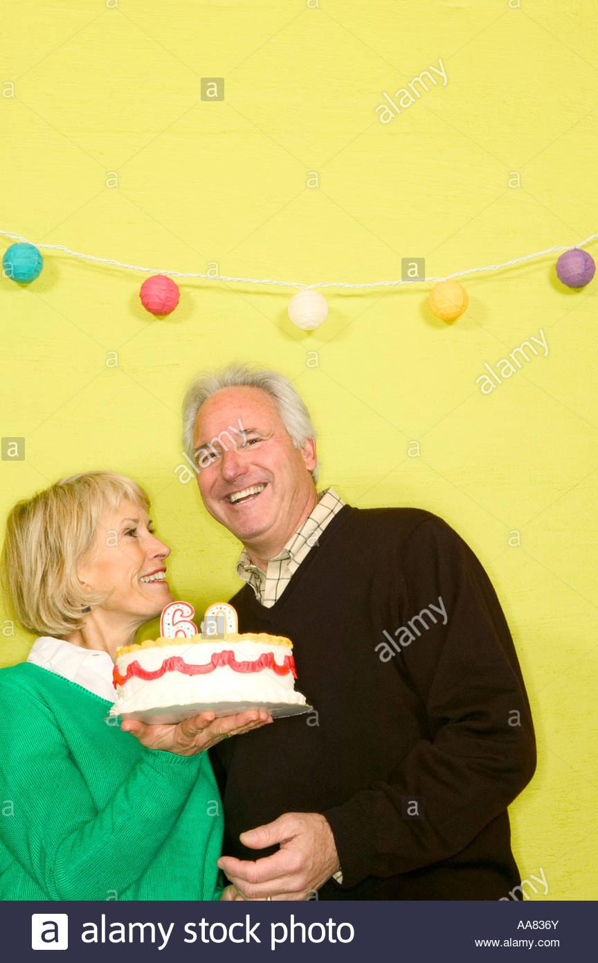 Alteres Paar Feiert 60 Geburtstag Stockbild