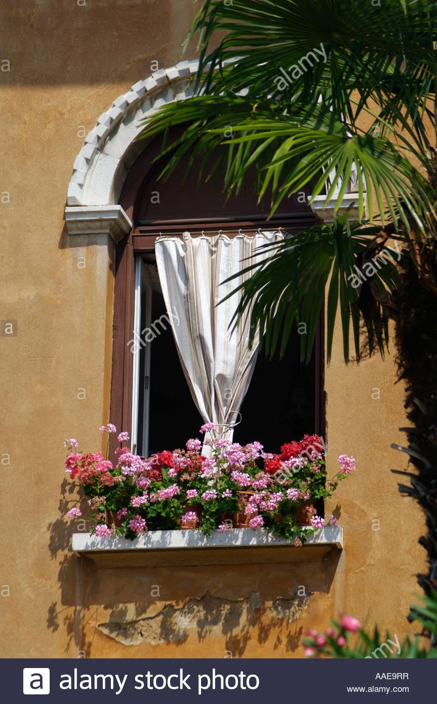 Reich verzierte Fenster mit Blumen umrahmt von Palme Opatija an der ...