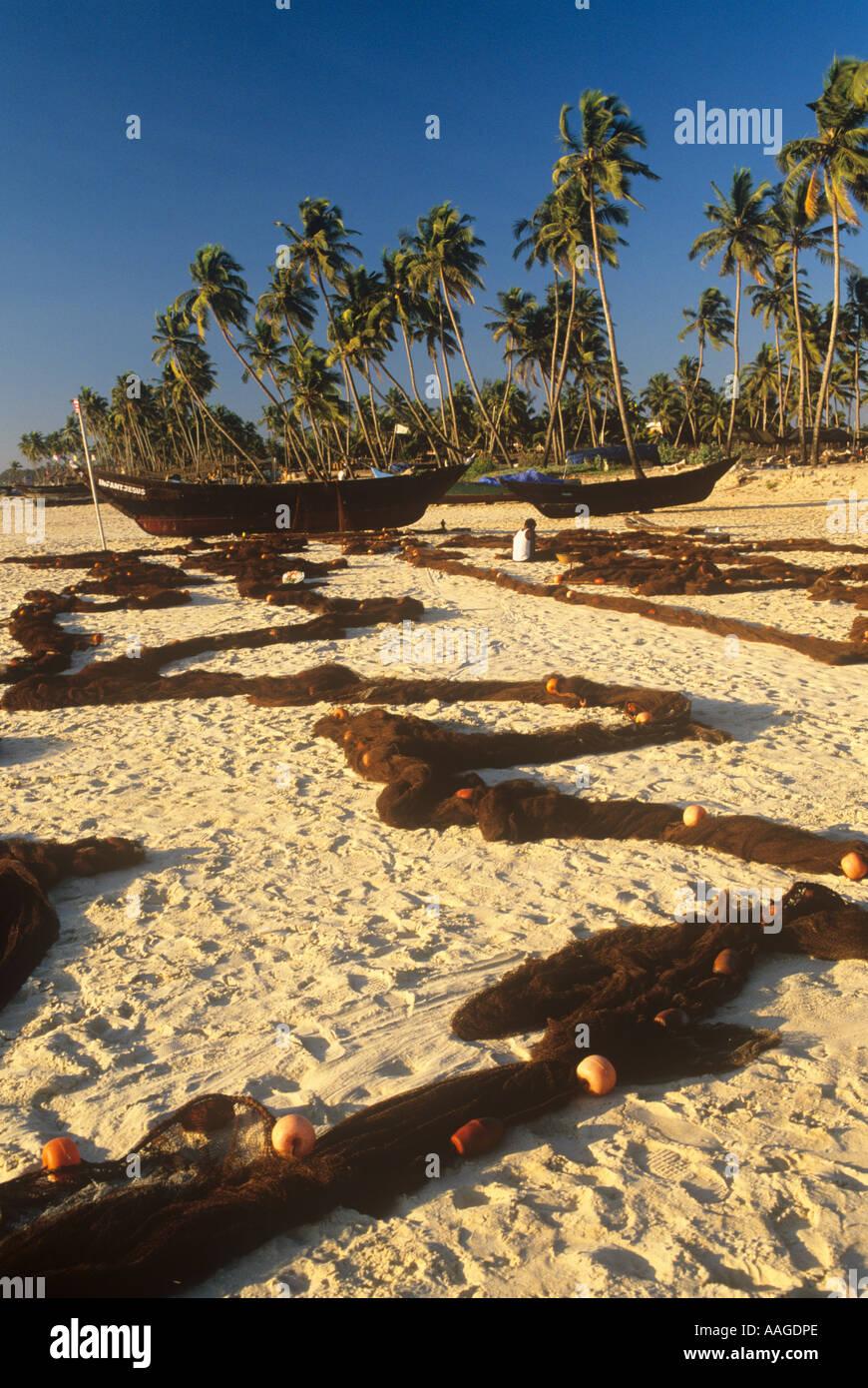 Fischer und Netze Colva Beach Goa Indien Stockfoto