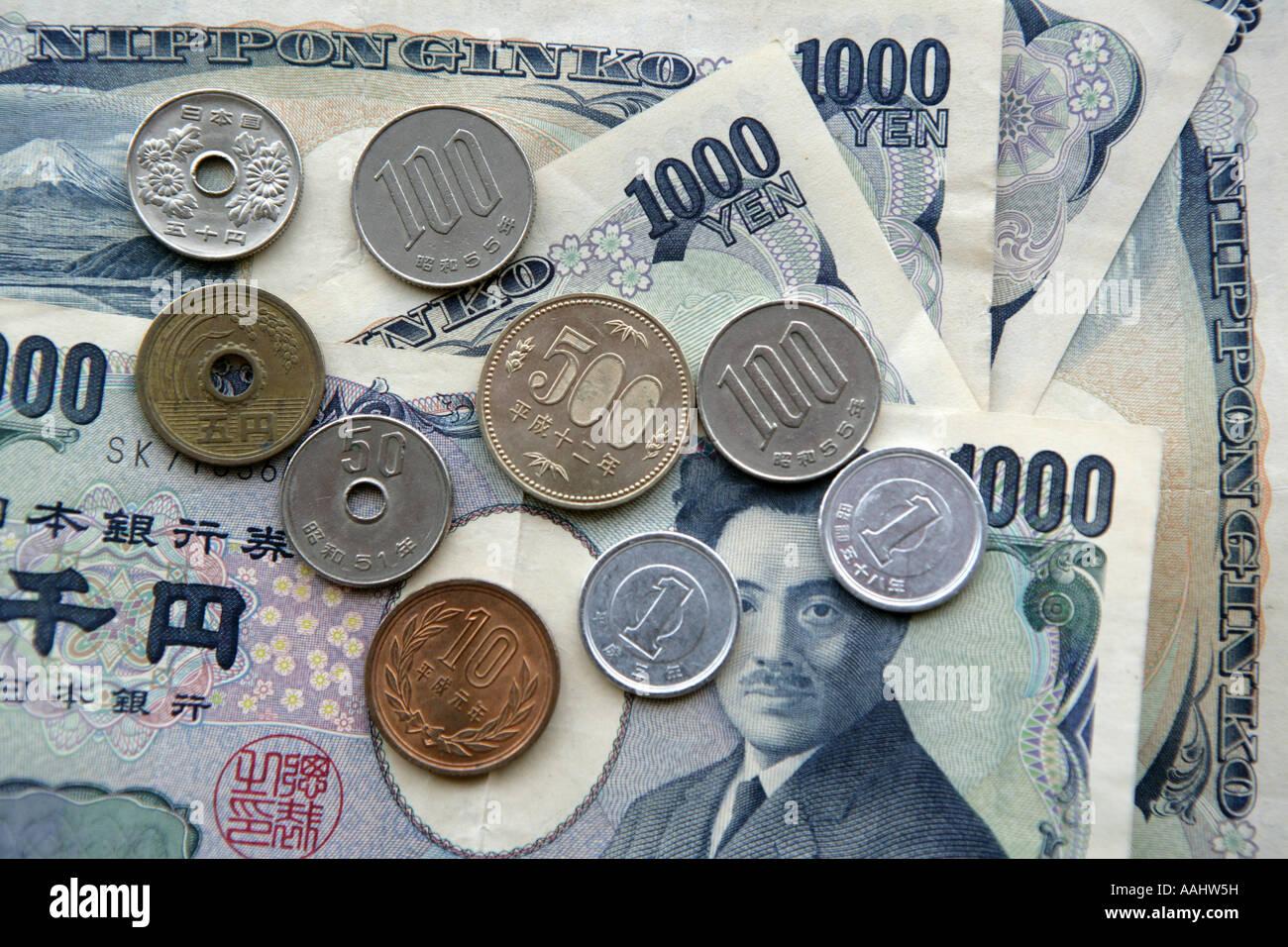 Jpn Japan Tokyo Japanische Geld Münzen Und Banknoten Yen