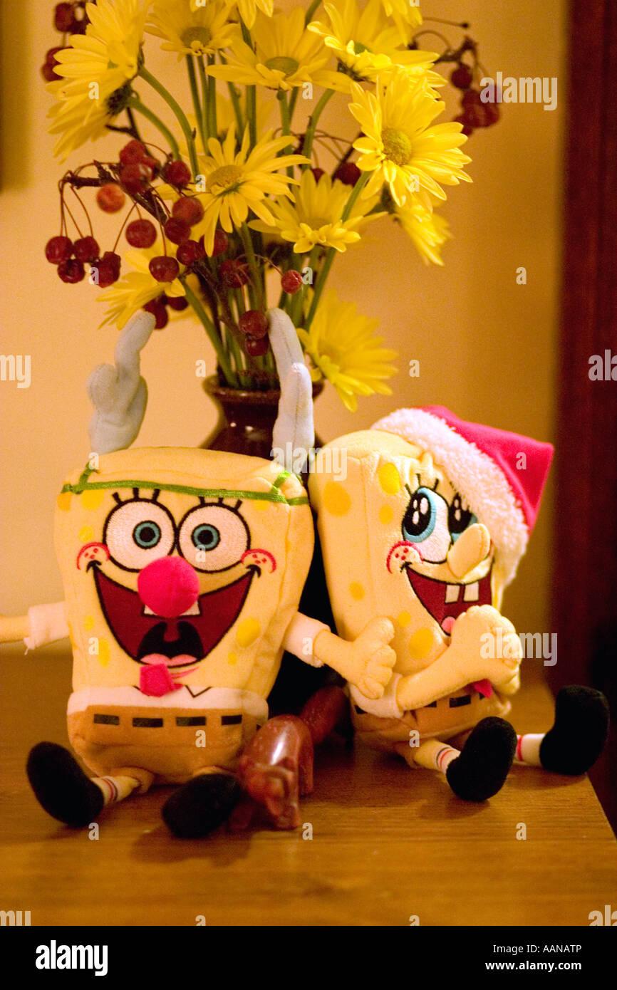 SpongeBob SquarePants gekleidet zu Weihnachten mit Vase mit Blumen ...