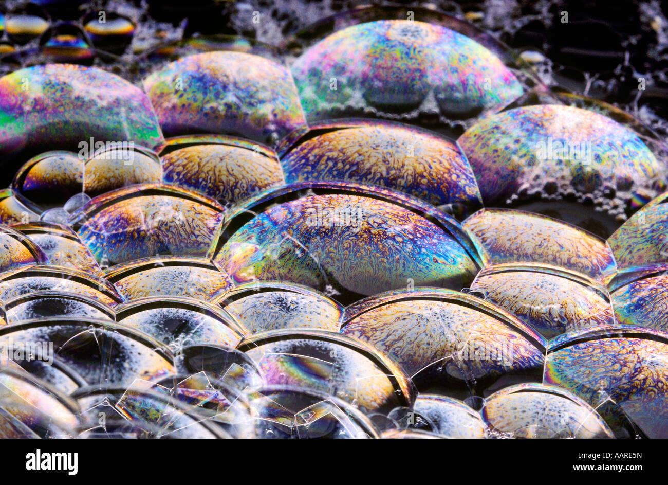 Licht reflektiert auf Blase Filmoberfläche Stockfoto