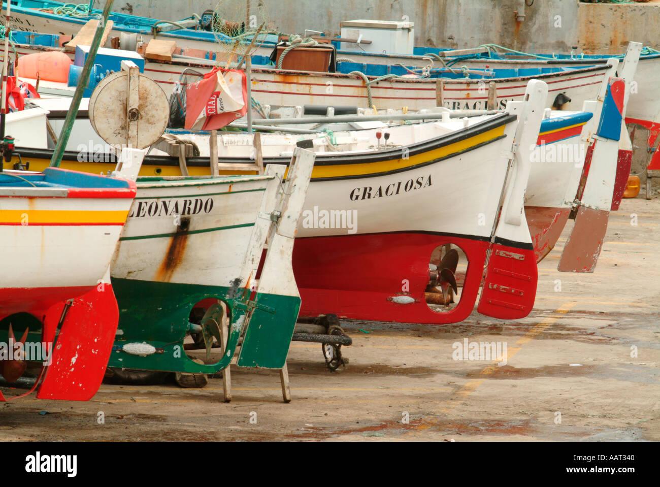 Bunte traditionelle bemalten Fischerboote im Graciosa, Azoren, Portugal. Stockbild