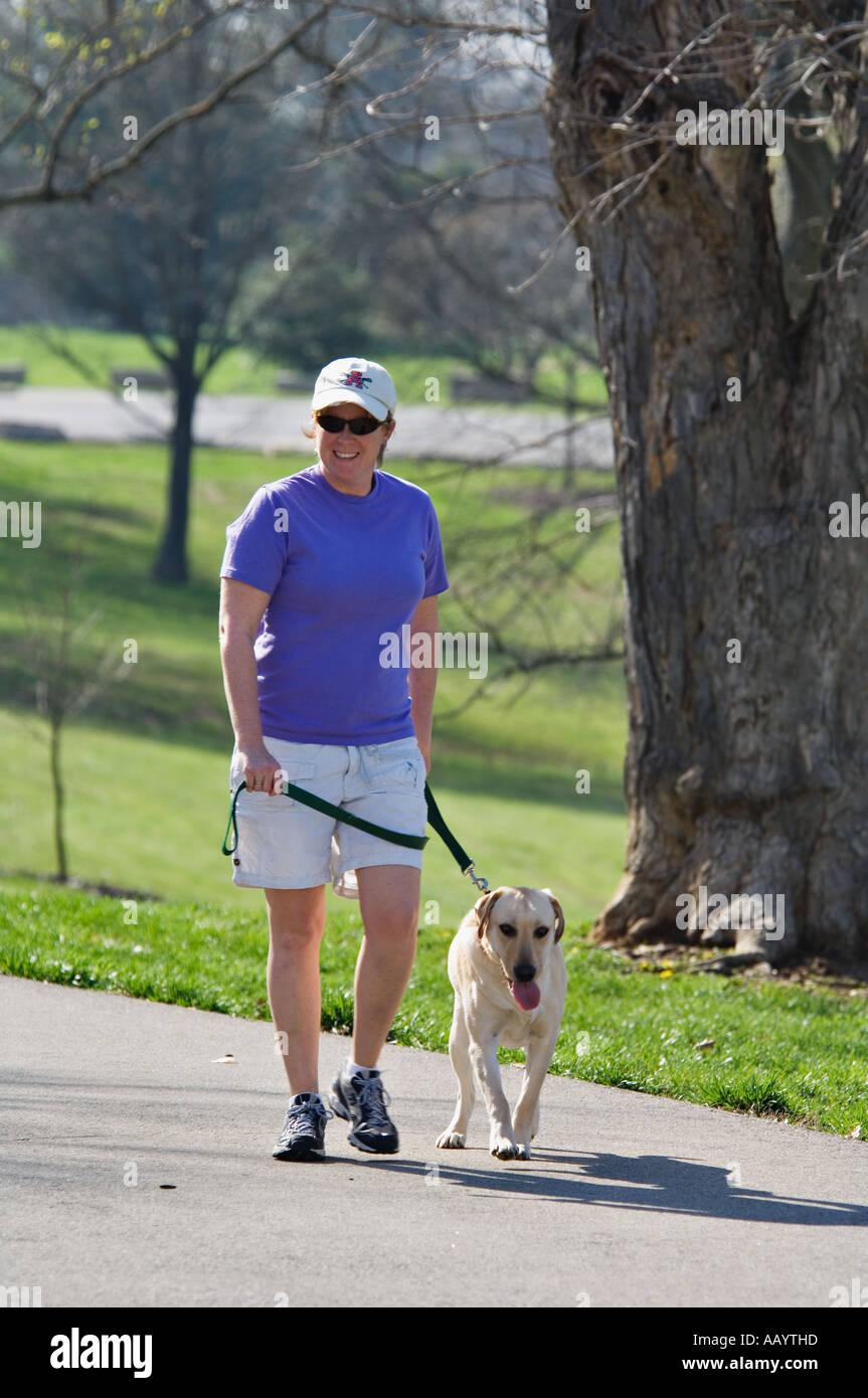 Frau Hund Weg im Park Cherokee Park Louisvile Kentucky Stockfoto