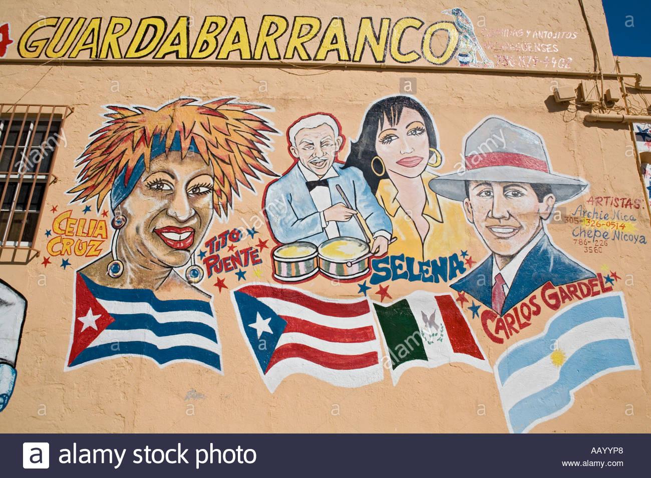 Außenwand des Gebäudes zeigt Grafitti Darstellung kubanische Entertainer Stockbild