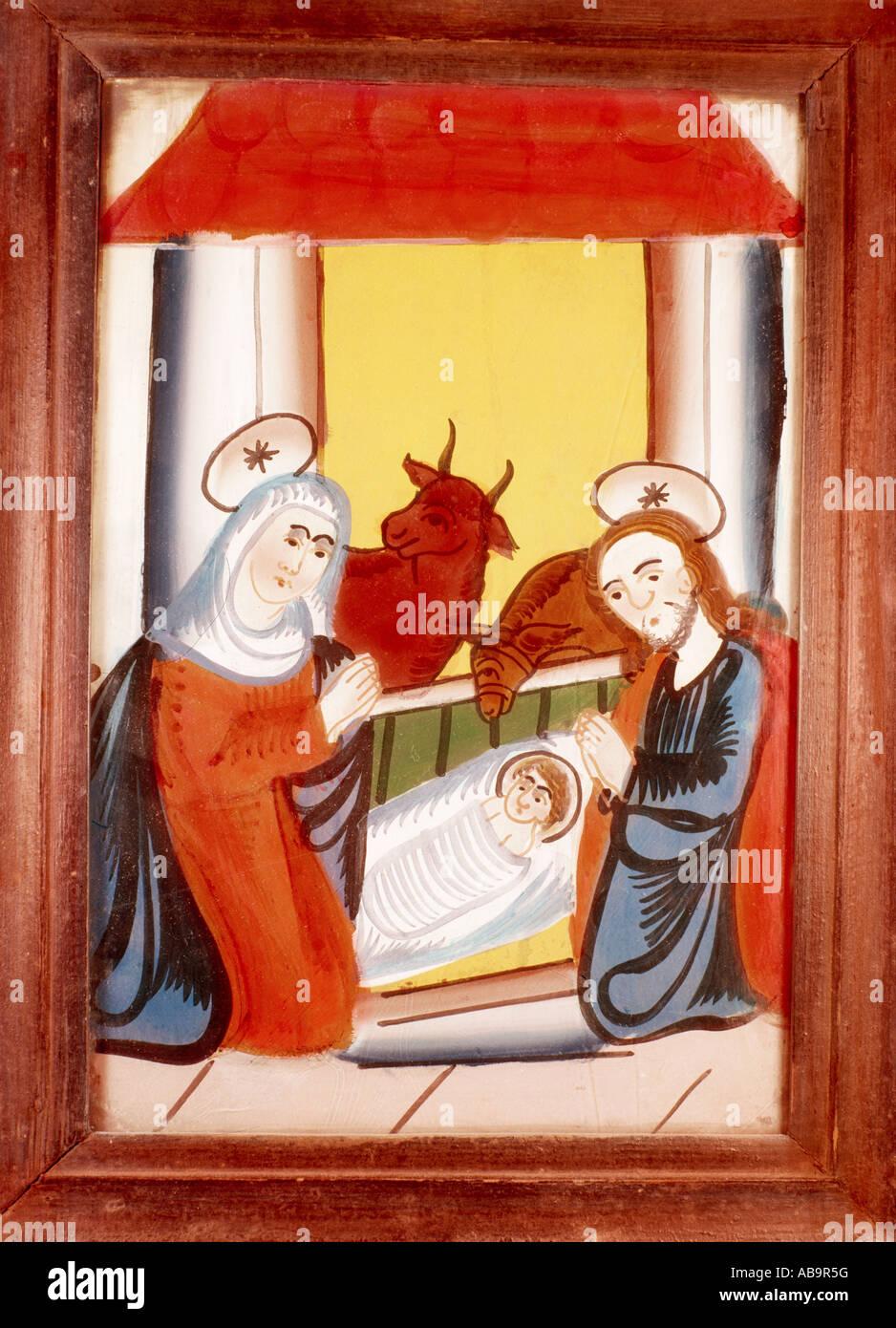 Bildende Kunst, religiöse Kunst, Jesus Christus, Krippe, Glasmalerei, Sandl, Oberösterreich, Mitte des Stockbild