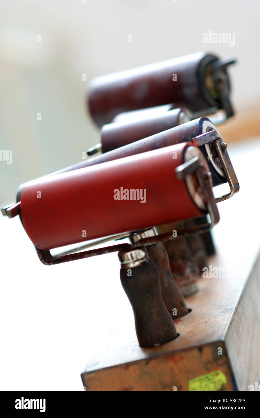 Presse-auf Presse auf Roll Walze für Lino drucken Drucken drucken Stockbild