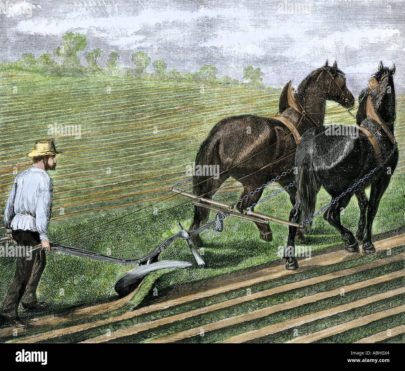 landwirt pflügen sod mit einem team von pferden 1800er