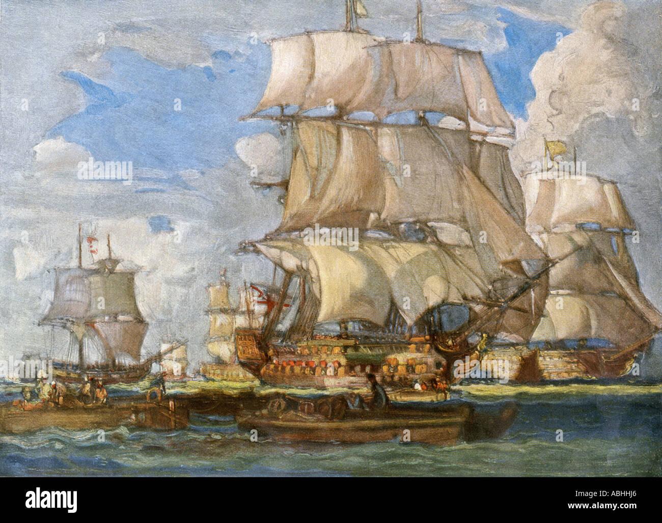 Britische Marine unter Lord Howe Segeln von Spithead für Seeschlachten vor der Küste von Frankreich 1794. Farbe halftone einer Abbildung Stockbild