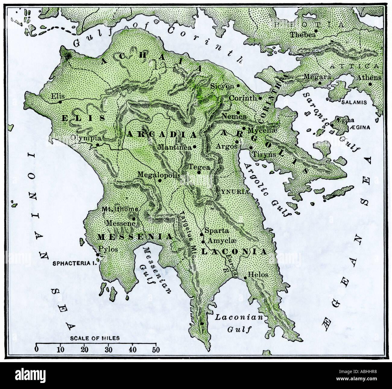 Peloponnes Karte.Karte Der Peloponnes Antike Griechenland Hand Farbige Holzschnitt