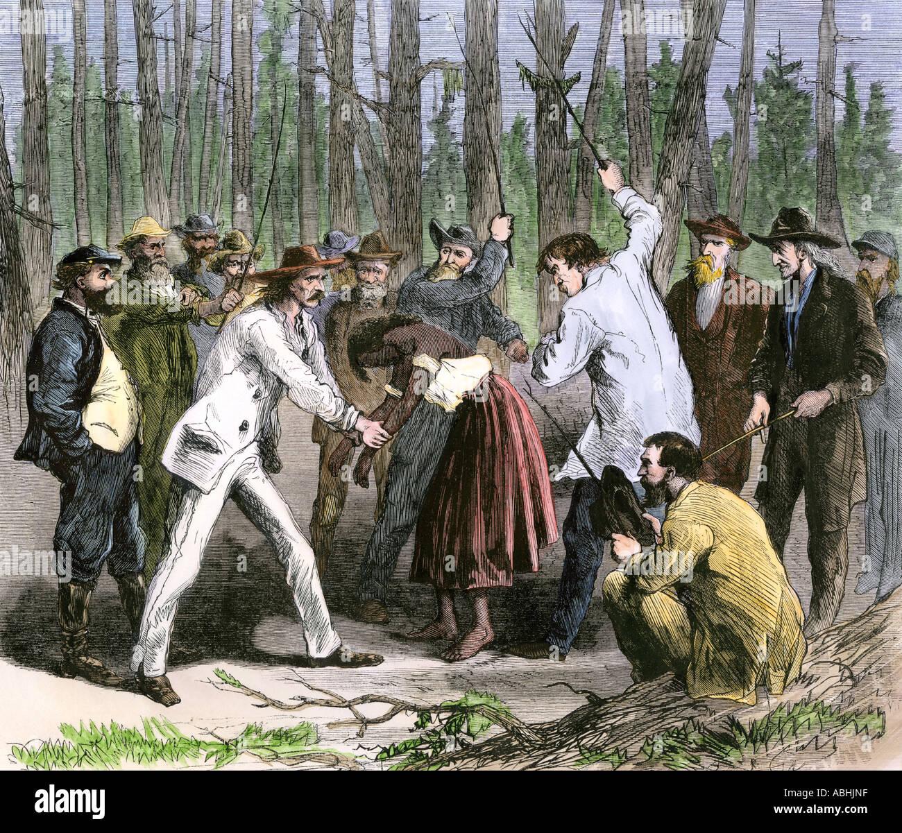 Anti-Rekonstruktion Südländer Peitschen ein schwarzes Mädchen in South Carolina 1867 Stockbild