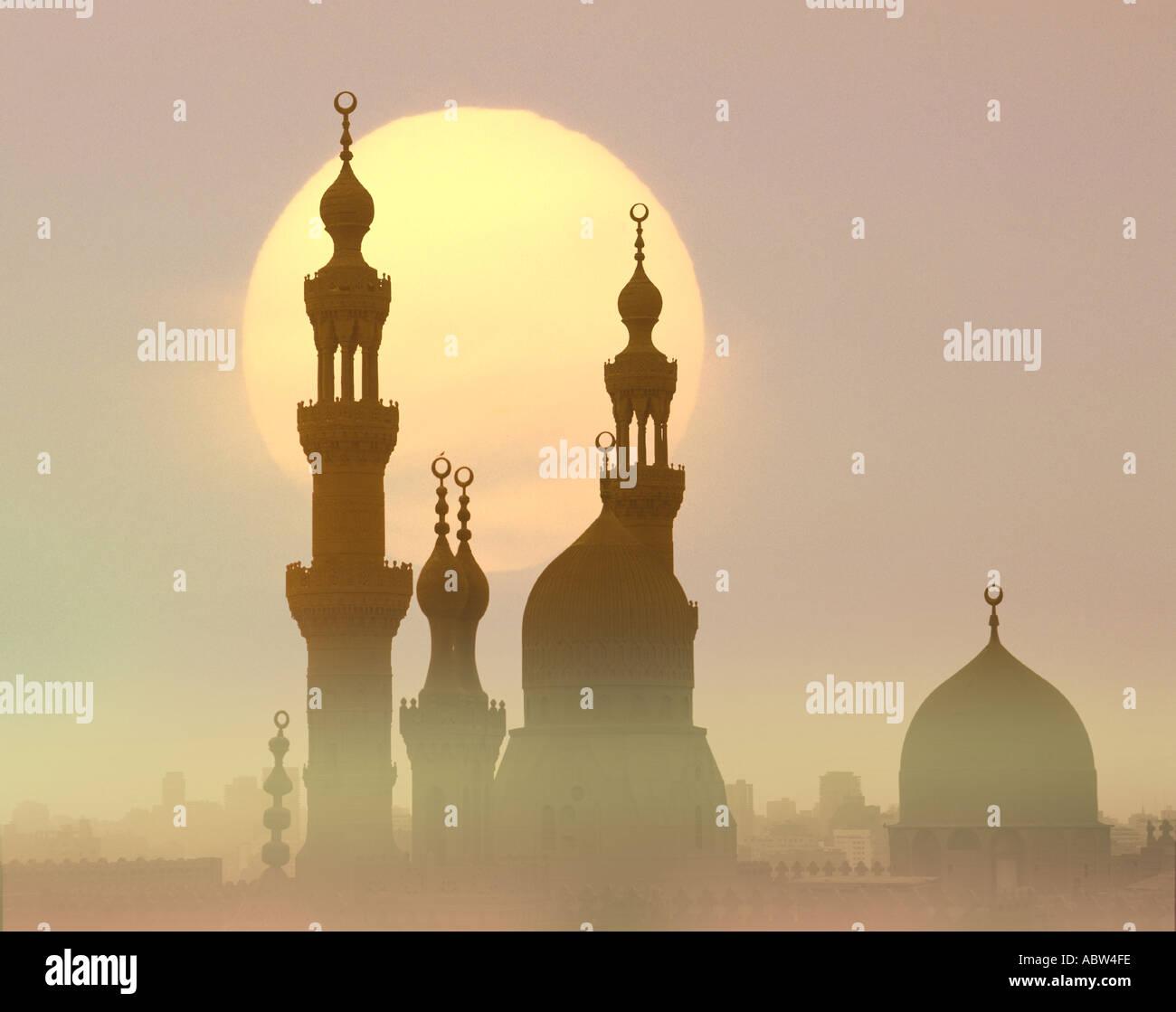 EG - Kairo: Sultan Hassan Mosque bei Sonnenuntergang Stockbild